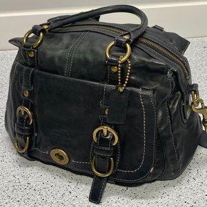 COACH Blue Leather Double Top Handle Handbag